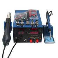 Saike 909D++ 3 in 1 Hot Air Rework Solder Iron Heat Gun Power Supply Welding Soldering Station