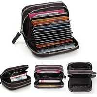 Women Men Genuine Leather Double Zipper Interlayer Card Holder Purse Coin Bags