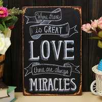 Love Miracle Sheet Metal Drawing Home Wall Poster Metal Painting Tin Sign