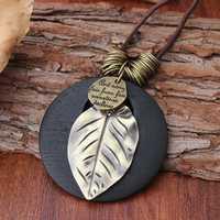 Ethnic Wood Alloy Leaf Pendant Necklaces