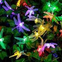 Honana DX-334 20 LED Dragonfly Colorful String Lights Solar Powered Night Light Garden Home Decor