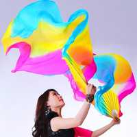 1.8M 5 colors Belly Dance Fan Bamboo Long Silk Fans Dance Performance Supplies
