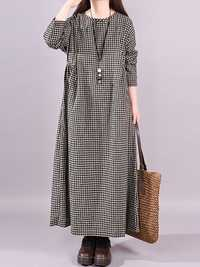 Vintage Women Cotton Plaid Casual Long Maxi Shirt Dress