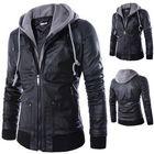 Meilleurs prix Mens Fashion Faux Leather Fake Two Black Motorcycle Jacket