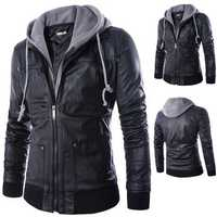 Mens Fashion Faux Leather Fake Two Black Motorcycle Jacket