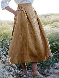 Solid Elastic Waist Linen Cotton Skirts