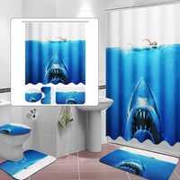 Deep Sea Shark 3D Printing Bathroom Shower Curtain Toilet Cover Mat Non-Slip Rug Sets