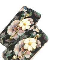 Luminous 3D Retro Flower Hard PC Protective Case with Metal Bracelet for iPhone 6/6s Plus 7/8 Plus