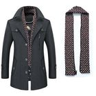Meilleurs prix Men's Thick Wool Detachable Scarf Trench Coat Casual Business Pea Coat Top Coats