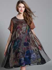 O-NEWE Elegant Women Loose Patchwork Peacock Printed Dress