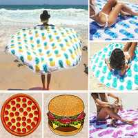 150cm Donut Pizza Pineaaple Printing Thin Dacron Beach Towel Shawl Bed Sheet Tapestry