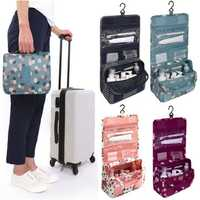 Zipper Hanging Toiletry Bags Floral Pattern Travel Organizer Case Women Cosmetic Makeup Bags