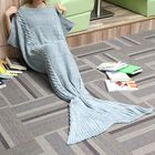 Acheter 80x190CM Adult Yarn Knitted Mermaid Tail Blanket Handmade Crochet Throw Super Soft Sofa Bed Mat