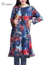 M-5XL Vintage Women Floral Pattern Printed Mini Dress