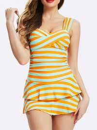 Stripe Cake Skirt Underwire One Piece Swimwear
