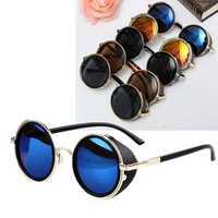 Unisex Vintage UV400 Sunglasses Steampunk Round Mirror Lens Glasses