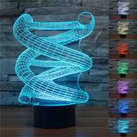 Novelty DNA 3D Spiral Night Light 7 Color Change LED Table Lamp Toy Gift
