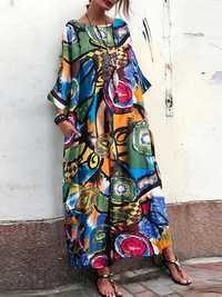 Women Bohemian Art Printed Batwing Sleeve Side Pockets Dress
