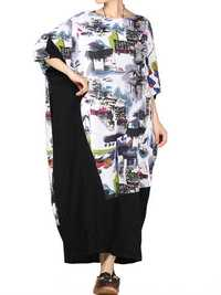 M-4XL Vintage Women Printed Splicing Half Sleeve Dress