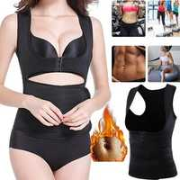 Women Neoprene Sauna Vest Adjustable Waist Trainer Belt Body Shaper Fat Burner Fitness Slimming Vest