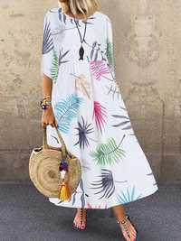 Bohemian 3/4 Sleeve O-neck Floral Print Casual Maxi Dress