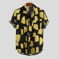 Mens Contrast Color Blocks Summer Fashion Printing Shirts