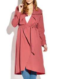 Casual Lapel Long Sleeve Women Long Coat With Belt