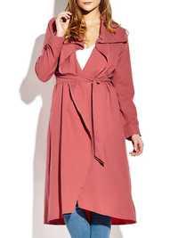 Casual Lapel Long Sleeve Women Long Coat With Belt