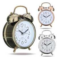 Classic Silent Retro Silent Double Bell Alarm Clock Quartz Movement Mini Bedside Bedroom Night Light Desk Table Clock Home Decor