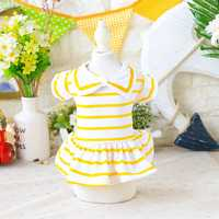 Bow Tie Princess Striped Dog Dress Spring Summer Breathable Pet Girls Skirt Puppy Cat Dresses Pets Costumes For Small Dogs