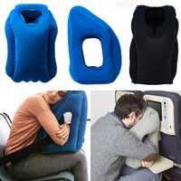Inflatable Travel Head Neck Back Lumbar Support Pillow Fatigue Relief Air Filled Airplane Cushion