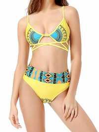 New Stylish Printing Criss Cross High Waist Bikini