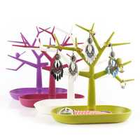 Colorful Bird Tree Jewelry Display Stand Plastic Organizer