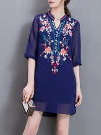 Elegant Women Embroidery Half Sleeve Chiffon Dresses