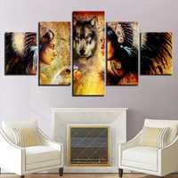 5Pcs Set Wolf Modern Canvas Print Paintings Wall Art Pictures Home Decor Unframed