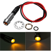 8mm 12V Amber LED Indicator Light Pilot Directional Dashboard Lamp Car Truck Boat