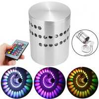 3W RGB LED Wall Lights Remote Control Spiral Ceiling Lamp for Hallway Porch KTV