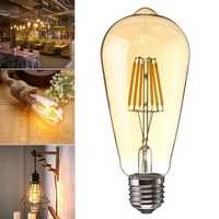 E27 6W Dimmable Warm White ST64 LED COB Vintage Retro Filament Edison Light Bulb AC220V