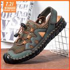 Offres Flash Men Genuine Leather Hand Stitching Breathable Mesh Casual Soft Sandals
