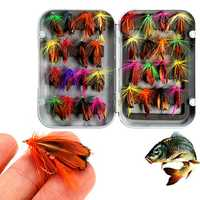 ZANLURE 32pcs Mixed Trout Flies Lure Fly Fishing Tackle with Box
