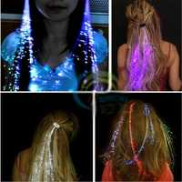 Flash LED Hair Braid 40CM Decorative Valentines Gift Party Light-Up Optic Fiber Extension Barrette