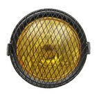 Les plus populaires Motorcycle SidE Mount Headlight Retro Amber Vintage For Cafe Racer w/Grill Cover