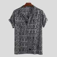 Men Ethnic Pattern Print Short Sleeve Hawaiian Shirts