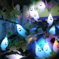 Halloween 20 LED Ghost Colorful String Lights Garden Courtyard Holiday Decoration Lamp
