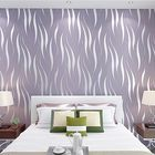 Acheter 10M 3D Crescent Wave Stripes Embossed Non-woven Flocking Wallpaper Modern Home Wall Decor