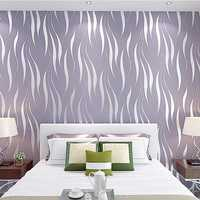 10M 3D Crescent Wave Stripes Embossed Non-woven Flocking Wallpaper Modern Home Wall Decor