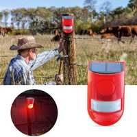 6 LED Solar Alarm Red Lamp Motion Sensor Warning Sound Light Waterproof for Garden Factory Warehouses