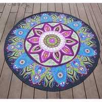 145cm Lotus Print Thin Chiffon Beach Yoga Towel Mandala Round Bed Sheet Tapestry Tablecloth