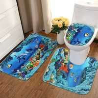 An Ocean Dolphin Bathroom Carpet Set Pedestal Rug Lid Toilet Cover Bath Mat Set