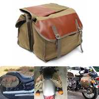 Motorcycle Canvas Saddlebags Equine Back Pack For Haley Sportster/Honda